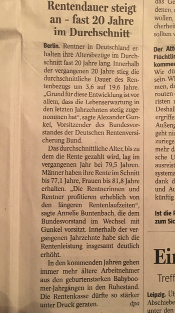 Zeitungsbeitrag Rentenalter - Blogbeitrag Andreas Scherff, Versicherungsmakler Mülheim